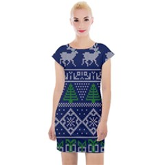 Beautiful Knitted Christmas Pattern Blur Green Cap Sleeve Bodycon Dress