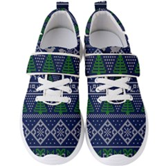 Beautiful Knitted Christmas Pattern Blur Green Men s Velcro Strap Shoes