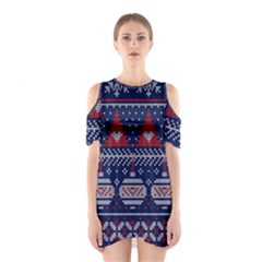 Beautiful Knitted Christmas Pattern Shoulder Cutout One Piece Dress