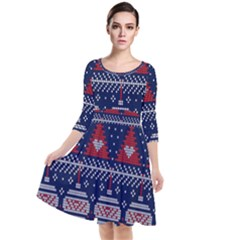 Beautiful Knitted Christmas Pattern Quarter Sleeve Waist Band Dress