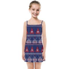Beautiful Knitted Christmas Pattern Kids  Summer Sun Dress