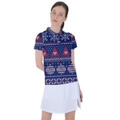 Beautiful Knitted Christmas Pattern Women s Polo Tee