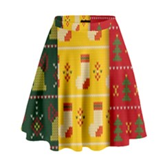 Knitted Christmas Pattern With Socks Bells High Waist Skirt