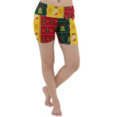 Knitted Christmas Pattern With Socks Bells Lightweight Velour Yoga Shorts