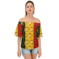 Knitted Christmas Pattern With Socks Bells Off Shoulder Short Sleeve Top