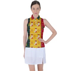 Knitted Christmas Pattern With Socks Bells Women s Sleeveless Polo Tee