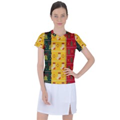 Knitted Christmas Pattern With Socks Bells Women s Sports Top
