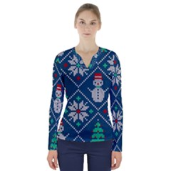 Knitted Christmas Pattern V Neck Long Sleeve Top