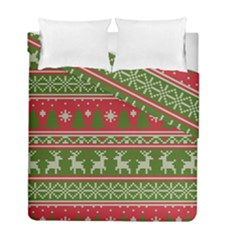 Christmas Knitting Pattern Duvet Cover Double Side (full/ Double Size)