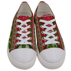 Christmas Knitting Pattern Women s Low Top Canvas Sneakers
