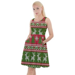 Christmas Knitting Pattern Knee Length Skater Dress With Pockets