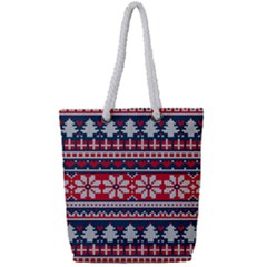 Beautiful Knitted Christmas Pattern Full Print Rope Handle Tote (small)