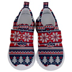 Beautiful Knitted Christmas Pattern Kids  Velcro No Lace Shoes