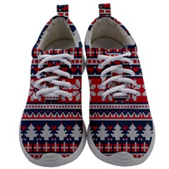 Beautiful Knitted Christmas Pattern Mens Athletic Shoes by Vaneshart