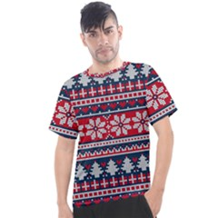 Beautiful Knitted Christmas Pattern Men s Sport Top
