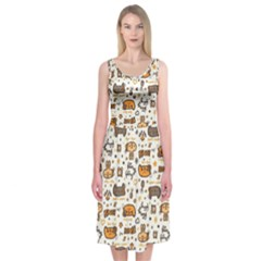 Animal Patterns Safari Midi Sleeveless Dress