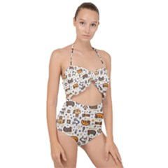 Animal Patterns Safari Scallop Top Cut Out Swimsuit