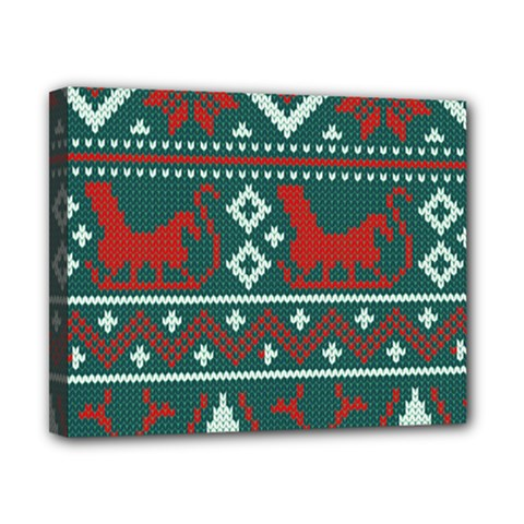 Beautiful Knitted Christmas Pattern Canvas 10  X 8  (stretched)