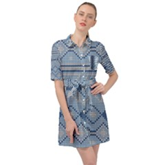 Beautiful Knitted Christmas Pattern Belted Shirt Dress