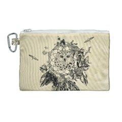 Owl On A Dreamcatcher Canvas Cosmetic Bag (large) by FantasyWorld7