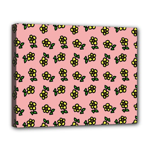 Daisy Pink Canvas 14  X 11  (stretched)