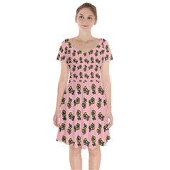 Daisy Pink Short Sleeve Bardot Dress