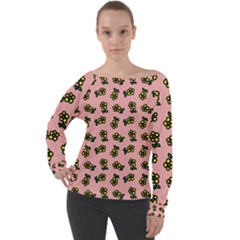 Daisy Pink Off Shoulder Long Sleeve Velour Top