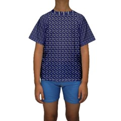 Grey Star Navy Blue Kids  Short Sleeve Swimwear by snowwhitegirl