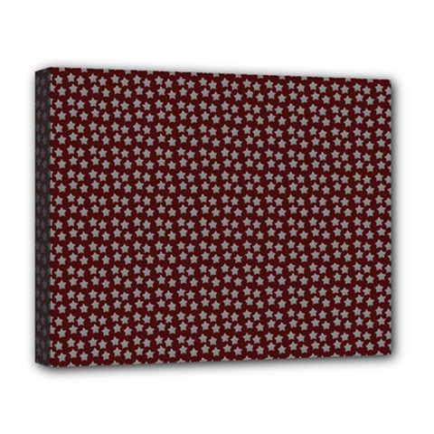 Grey Star Navy Burgundy Deluxe Canvas 20  X 16  (stretched)