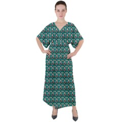 Chrix Pat Teal V-neck Boho Style Maxi Dress