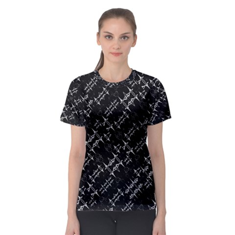 Black And White Ethnic Geometric Pattern Women s Sport Mesh Tee by dflcprintsclothing