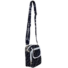 Black And White Ethnic Geometric Pattern Shoulder Strap Belt Bag by dflcprintsclothing