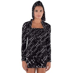 Black And White Ethnic Geometric Pattern Long Sleeve Hooded T-shirt by dflcprintsclothing