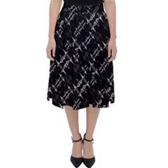Black And White Ethnic Geometric Pattern Classic Midi Skirt by dflcprintsclothing