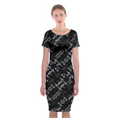 Black And White Ethnic Geometric Pattern Classic Short Sleeve Midi Dress by dflcprintsclothing