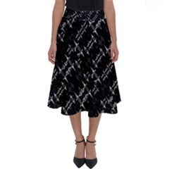 Black And White Ethnic Geometric Pattern Perfect Length Midi Skirt by dflcprintsclothing
