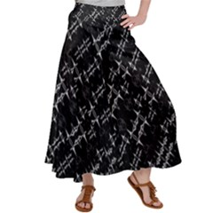 Black And White Ethnic Geometric Pattern Satin Palazzo Pants by dflcprintsclothing