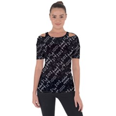 Black And White Ethnic Geometric Pattern Shoulder Cut Out Short Sleeve Top by dflcprintsclothing