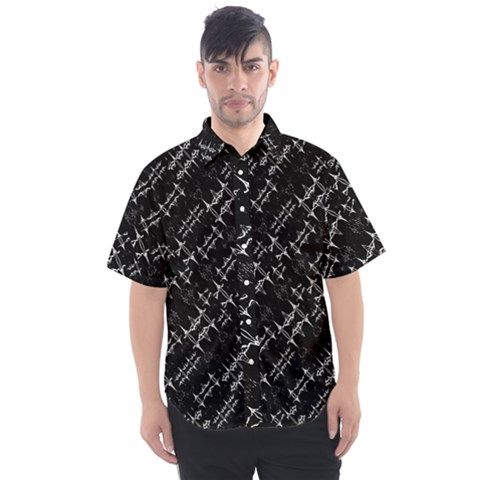 Black And White Ethnic Geometric Pattern Men s Short Sleeve Shirt by dflcprintsclothing