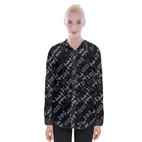 Black And White Ethnic Geometric Pattern Womens Long Sleeve Shirt by dflcprintsclothing