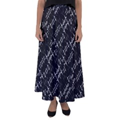 Black And White Ethnic Geometric Pattern Flared Maxi Skirt by dflcprintsclothing