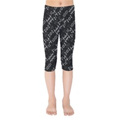 Black And White Ethnic Geometric Pattern Kids  Capri Leggings  by dflcprintsclothing