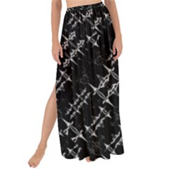 Black And White Ethnic Geometric Pattern Maxi Chiffon Tie-up Sarong by dflcprintsclothing