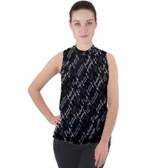 Black And White Ethnic Geometric Pattern Mock Neck Chiffon Sleeveless Top by dflcprintsclothing