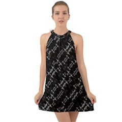 Black And White Ethnic Geometric Pattern Halter Tie Back Chiffon Dress by dflcprintsclothing