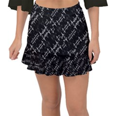 Black And White Ethnic Geometric Pattern Fishtail Mini Chiffon Skirt by dflcprintsclothing