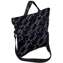 Black And White Ethnic Geometric Pattern Fold Over Handle Tote Bag by dflcprintsclothing