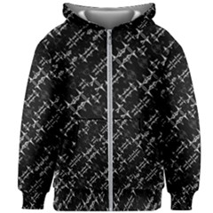 Black And White Ethnic Geometric Pattern Kids  Zipper Hoodie Without Drawstring by dflcprintsclothing
