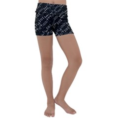 Black And White Ethnic Geometric Pattern Kids  Lightweight Velour Yoga Shorts by dflcprintsclothing