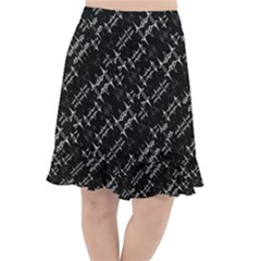 Black And White Ethnic Geometric Pattern Fishtail Chiffon Skirt by dflcprintsclothing